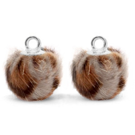 2 x Pompom bedels met oog faux fur leopard 12mm Taupe brown-silver