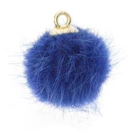 2 x Pompom bedels faux fur 16mm goud blauw