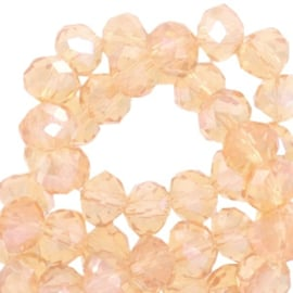 Per stuk Top Facet kralen 8x6 mm disc Apricot blush-pearl shine