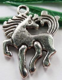 4 x Tibetaans zilveren bedel van een pony paard 19 x 2mm gat: 2mm
