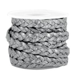 20 cm DQ leer plat gevlochten 5mm Grey-metallic