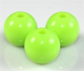 10 Stuks Acrylkralen licht groen 12 mm, gat 2 mm