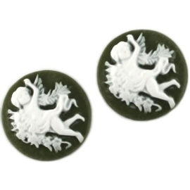 2 x Camee rond Army groen / wit 20mm