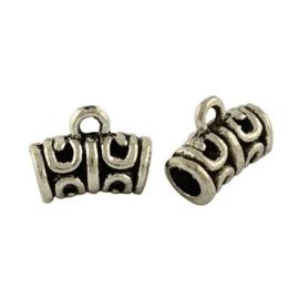 10 x Tibetaans zilveren hanger bails 12 x 10 x 6mm oogje: 2mm
