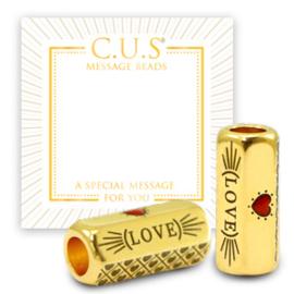 """1 x C.U.S® sieraden message beads """"love and life"""" & heart Goud (nikkelvrij"""