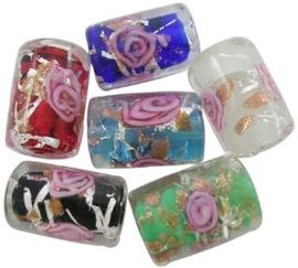 10 stuks prachtige handgemaakte glaskralen met zilver folie 10x16mm, gat: 2mm