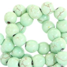 20 x Keramiek turquoise kralen rond 6mm Crysolite green