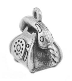 Tibetaans zilveren 3D bedeltje van een telefoon 14 x 13 x 2mm Gat: 2mm
