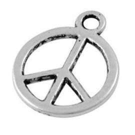 10 x Bedel Peace 13x1 mm Antiek Zilver