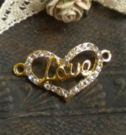 Schitterende Hart tussenzetsel met strass 30x16x2mm goud love
