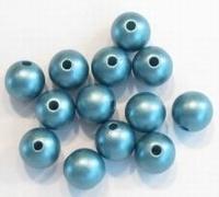10 stuks Luxe kunststof parel mat blauw 10 mm