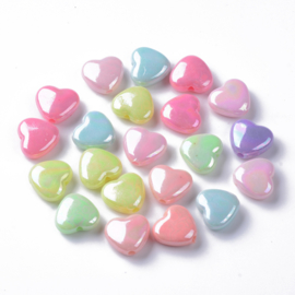 15 stuks mooie acryl hartjes mix pastel glans 11 x 12 x 5mm, gat 1,8mm