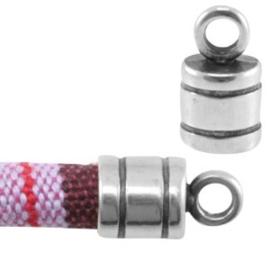 1x DQ metaal eindkapje met oog voor 6 mm koord Antiek zilver