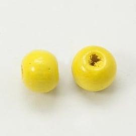 25  keer ronde houten kraal 8mm mails geel  (op = op!)