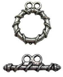 2x Tibetaans zilveren sluiting 17 mm x 15 mm oogje: 1,5 mm staafje: 20 mm x 6,5 mm