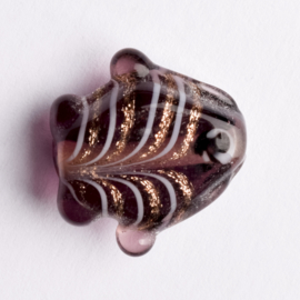 5  x vis kraal 18x18x8 mm kleur: bruin gat: 1mm
