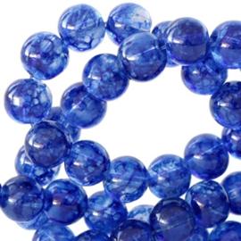 30 x 8 mm glaskralen transparant gemêleerd Cobalt blue