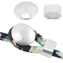 Basic quality metalen knop sluiting Ø5mm Antiek zilver