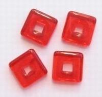 10 x Glaskraal veterkraal transparant rood 12 mm gat: 5mm