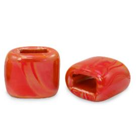 1 x C.U.S sieraden schuiver DQ Grieks keramiek 11x12mm True red