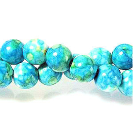 15 x Natural Ocean White Jade Turquoise 6 mm