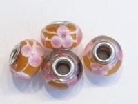 Per stuk Glaskraal met metaal European-style Oranje met roze 14 mm