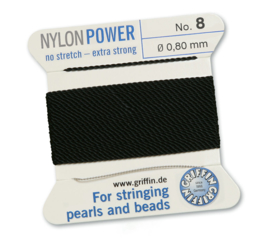 Nylon Power no stretch - extra strong 2 meter met naald  No: 8 Ø 0,90mm zwart