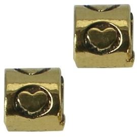 2 x Metalen Kraal rond met hart 8 mm Medium Antiek Goud Ø 4-5 mm