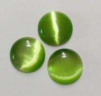 Plaksteen glas cate-eye rond 15mm groen