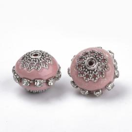 Schitterende handgemaakte Kashmiri kraal 16~18 x 15~16 mm ingelegd met metaal en strass Gat: 2mm pink