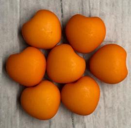 10 Stuks oranje acrylkralen in de vorm van een hartje 10mm gat 1mm