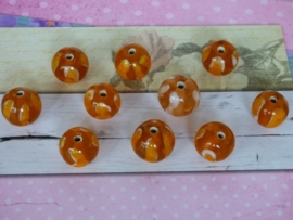 5 x High Quality Glass Hand Made Bead 129 afm. ca. 9 x 11mm