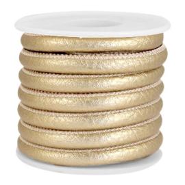 1 rol met 4 meter gestikt imitatie leer 6x4mm Antique gold metallic (kies voor pakketpost)