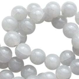 30 x Crackled opal glaskralen 6 mm Grey