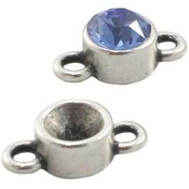 2x Puntsteen Setting SS29 DQ twee ogen Antiek zilver ca. 15 x 8 mm (voor puntsteen SS29, 6mm)