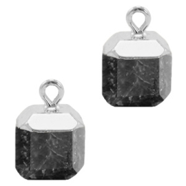 1 x Natuursteen hangers square Anthracite-silver Shimmer stone