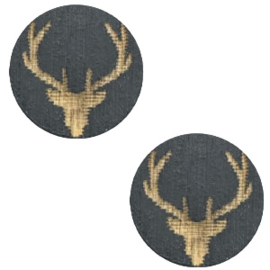 1 x Houten cabochon reindeer 12mm Dark grey