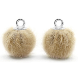 2 x Pompom bedels met oog faux fur 12mm Taupe brown-silver