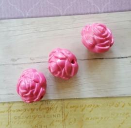 10 x acryl roos kraal 20 x 20 x 19mm gat: 2mm hot pink
