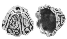 1 stuks tibetaans zilveren kralenkapjes 15 x 11mm gat 2mm