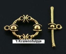 Prachtige Tibetaans zilveren sluiting (goudkleur)  21,5 x 16,5mm