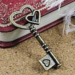 2 x Prachtige Tibetaans zilveren sleutel geel koper kleur 43x19mm