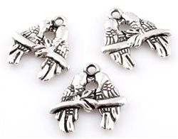 2x Antiek zilveren metalen bedel Papegaaien 18 mm