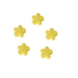 10 x Kinderkralen acryl bloem Geel 12 mm