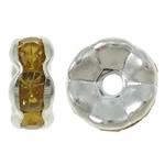 50 stuks Verzilverde Kristal Rondellen 7 mm light Amber