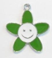 Per stuk Zilverkleurig metalen bloem met groen/witte epoxy 28 mm