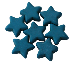 5 x Keramiek turquoise ster licht blauw; 15 mm