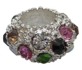 10  stuks European Jewelry kralen met bergkristal gemixt, verzilverd, erg mooi!!