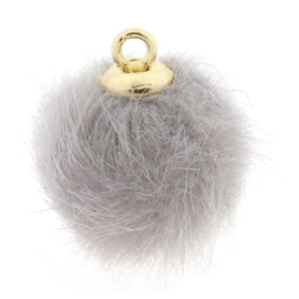 Pompom bedels faux fur 16mm goud Grijs