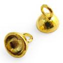Kralenhoedje om bv op een ronde kraal of steen te lijmen! Hanger met plakvlak 6mm Goud
